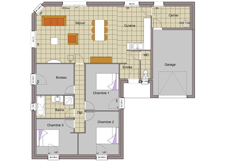 Maison plain-pied 7 Plan Maison Pinterest Construction and House - plan maison une chambre