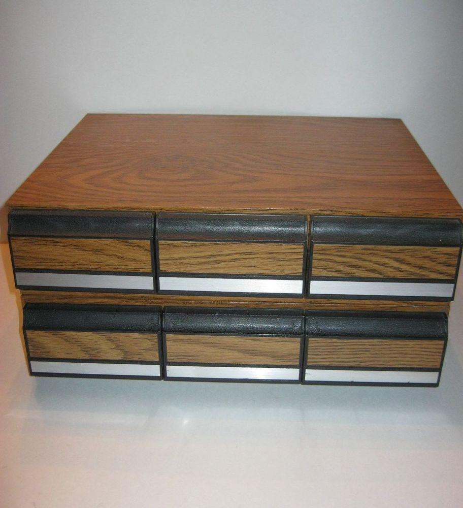 Vintage Audio Cassette Tape Storage Cabinet Set Of 2 Holds 84 Tapes Total