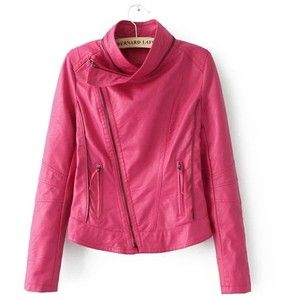 Red Lapel Zipper Seamed PU Jacket 15CT00137-2