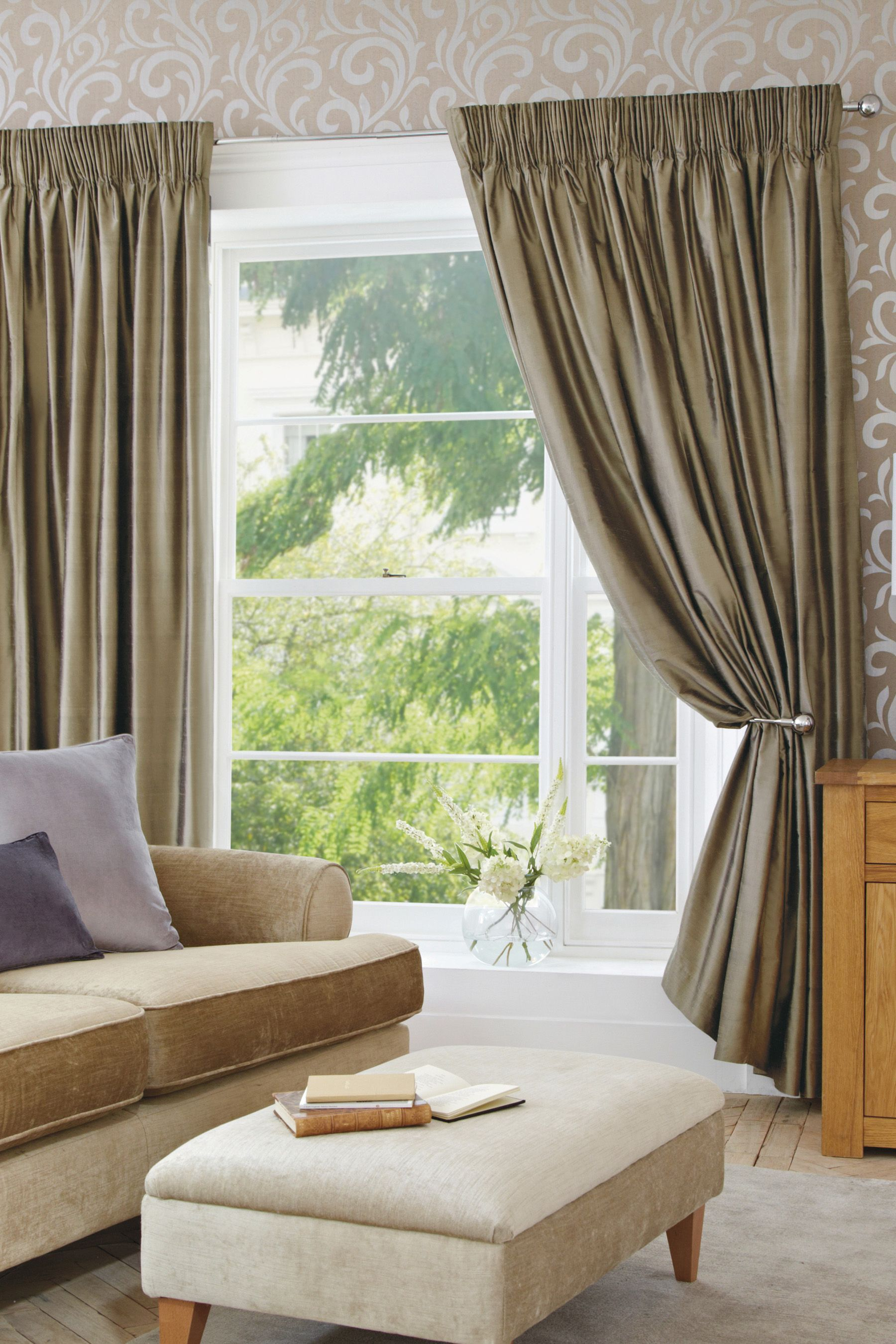 Buy Mink Silk Pencil Pleat Curtains From The Next UK Online Shop