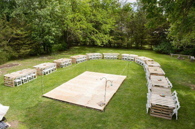 Pallet Tables Homemade Dance Floor Dance Floor Wedding Diy Outdoor Weddings Summer Wedding Outdoor