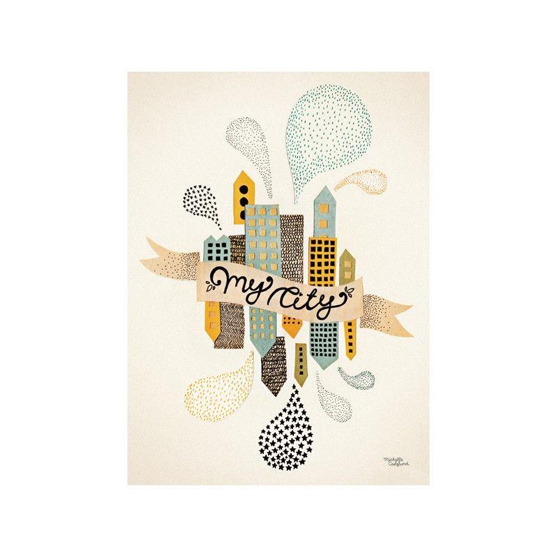 affiche scandinave my city two michelle carlslund chambre enfant d co pinterest affiches. Black Bedroom Furniture Sets. Home Design Ideas
