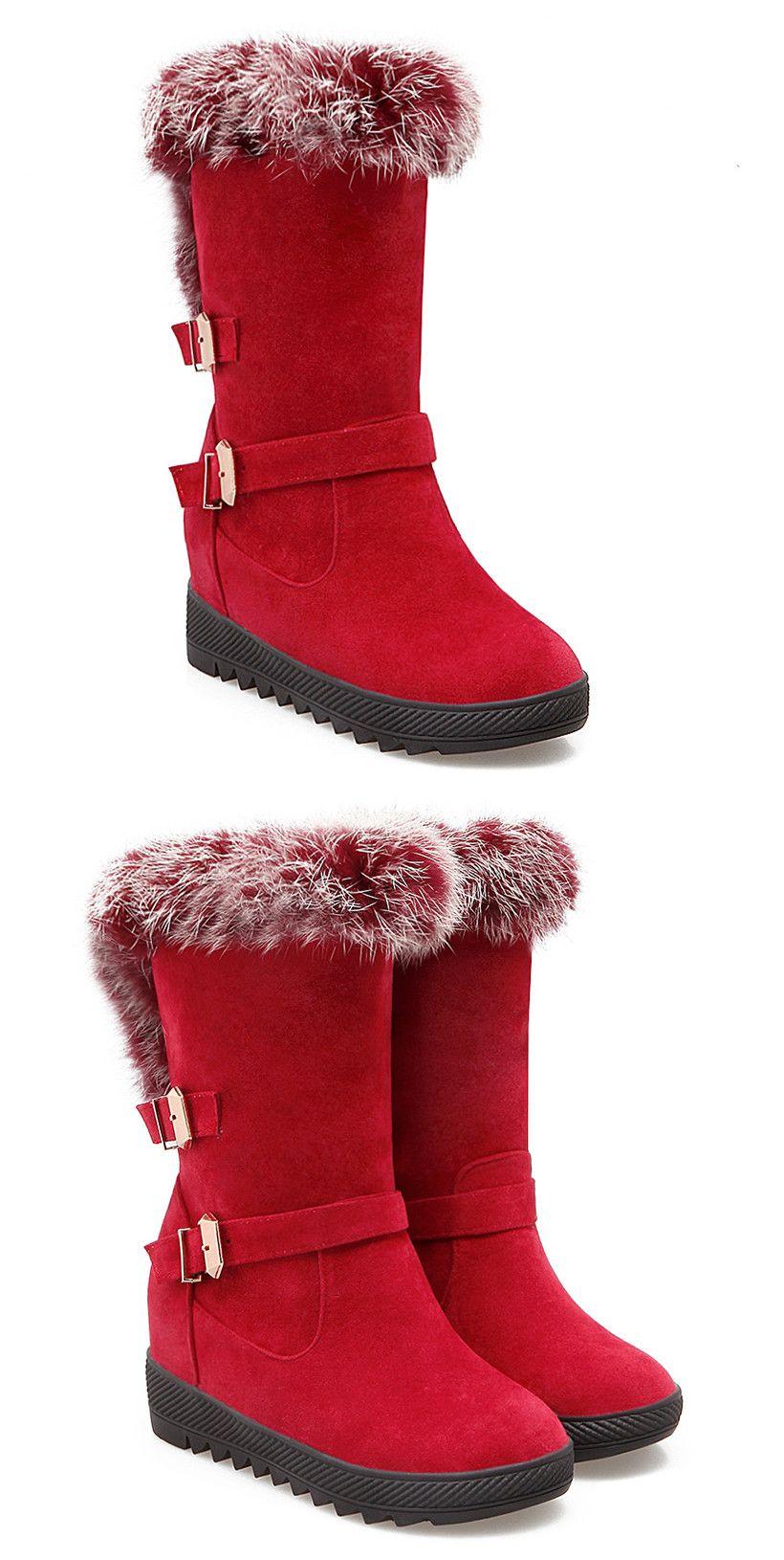 0e0b133f0da Hidden Wedge Buckles Faux Fur Snow Boots