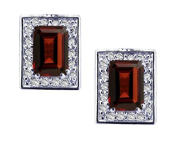 14K White Gold Garnet Post-Earrings with Diamond Frame
