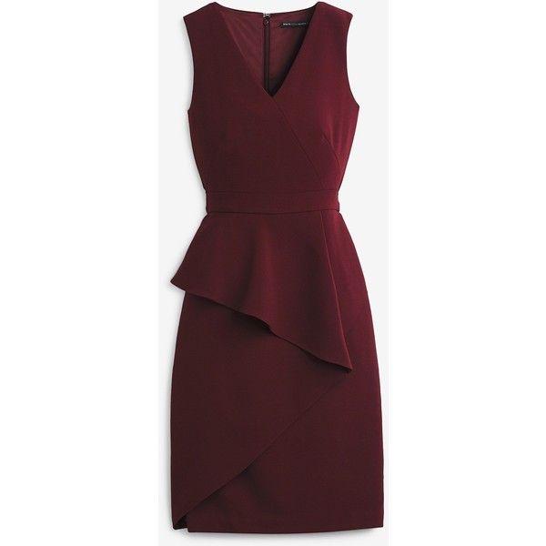 White House Black Market Asymmetric-Peplum Sheath Dress (310 BRL) ❤ liked on Polyvore featuring dresses, red peplum dress, petite sheath dress, petite red dress, peplum dress and sheath dresses