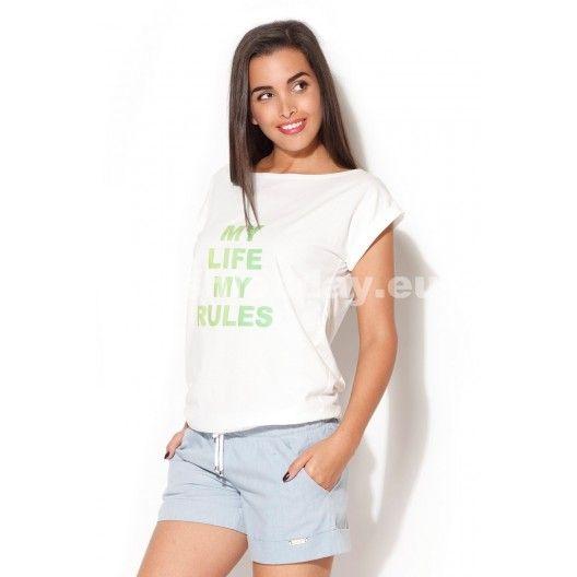 8d5ecd3dd0e2 Dámske tričko v bielej farbe so zeleným nápisom - fashionday.eu ...