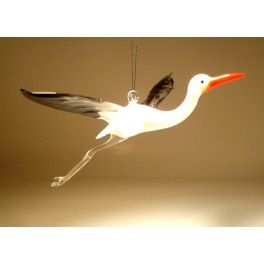 Glass Stork Egret Ornament $25.95 http://www.glasslilies.com/114-glass-stork-egret-ornament-.html #Glass #Stork #Egret #Ornament #Figurine #GlassArt #BlownGlass #Gifts #Bird