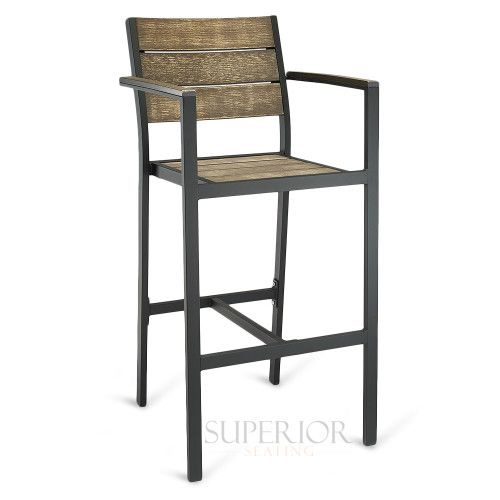 Outdoor Restaurant Bar Stool With Arms Brushed Brown Synthetic