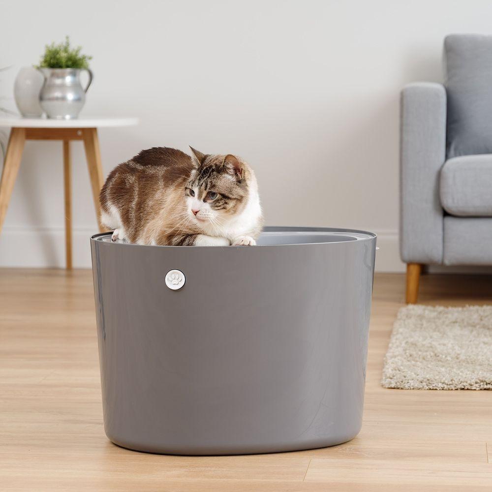 Cat Litter Box With Scoop,IRIS Top Entry, Dark Gray/White