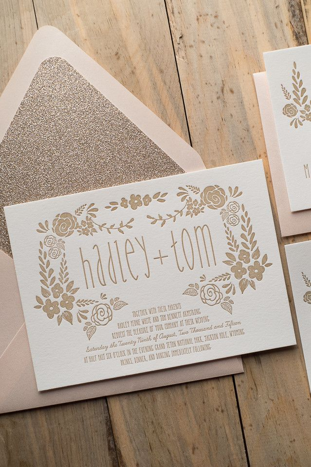 Beautiful Floral Letterpress Wedding Invitations Digital Printed