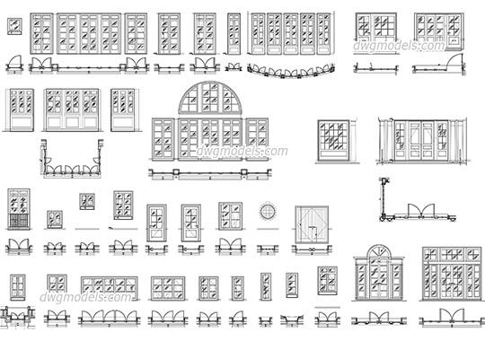 Doors And Windows Set Dwg, Cad File Download Free