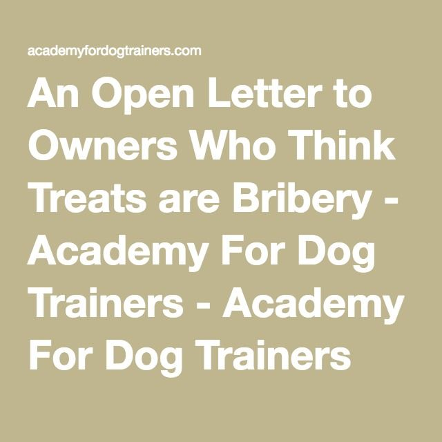An Open Letter to Owners Who Think Treats are Bribery - Academy For Dog Trainers - Academy For Dog Trainers Blog