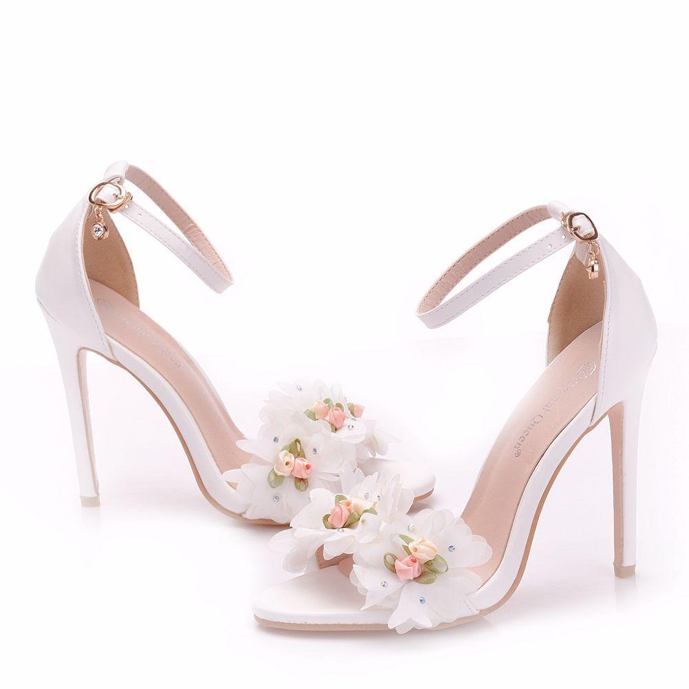 Piekne Biale Buty Slubne 2018 Aplikacje Rhinestone Z Paskiem 11 Cm Szpilki Peep Toe Slub Wysokie Obcasy Evening Shoes Wedding Shoes White Wedding Shoes