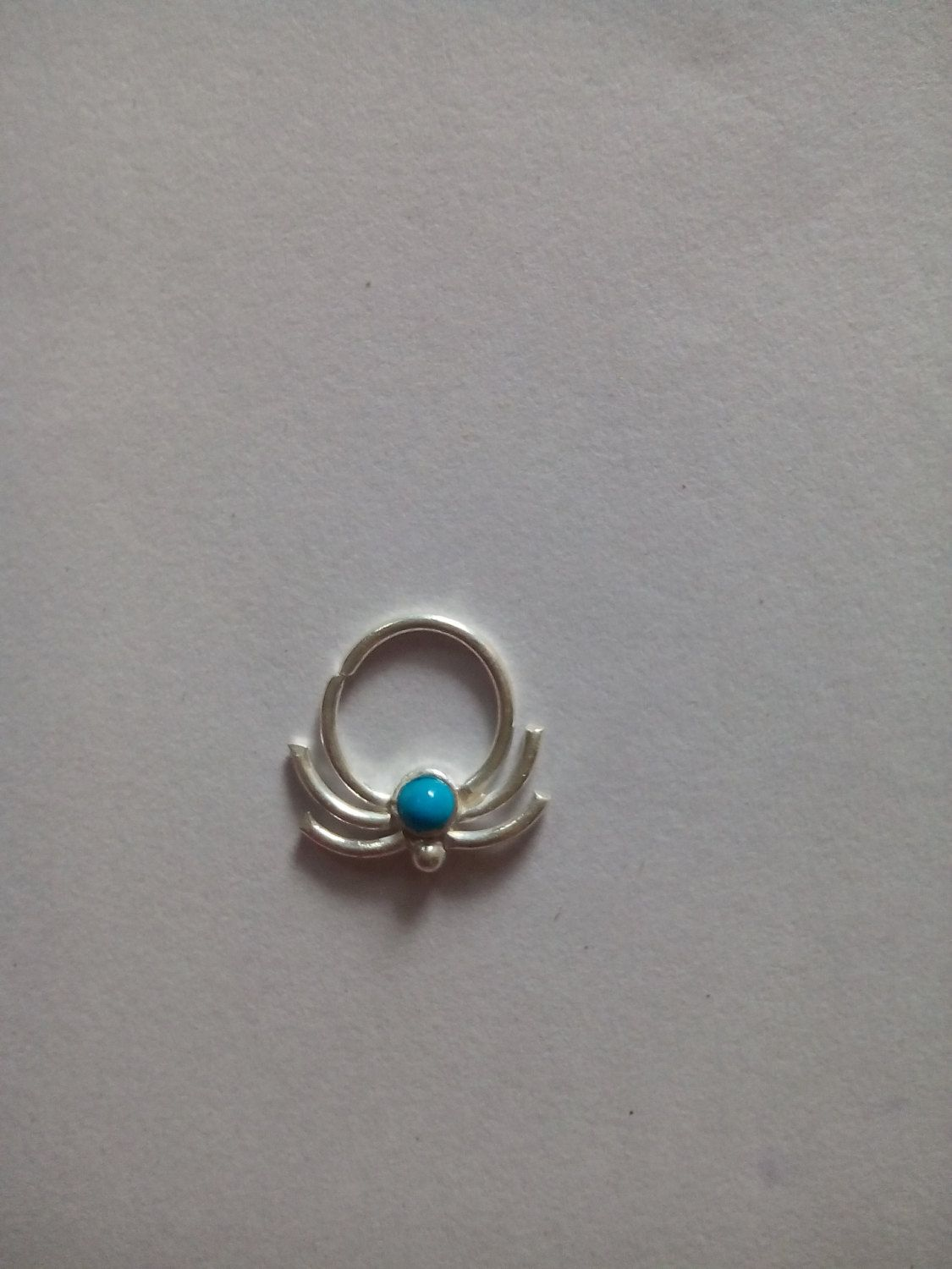 Unique Silver septum ring for Pierced Nose-indian Handmade Nose ring with Turquoise gemstone-Decorated Nose Hoop-Nostrill-free shipping by Gemstonebeadsfinding on Etsy