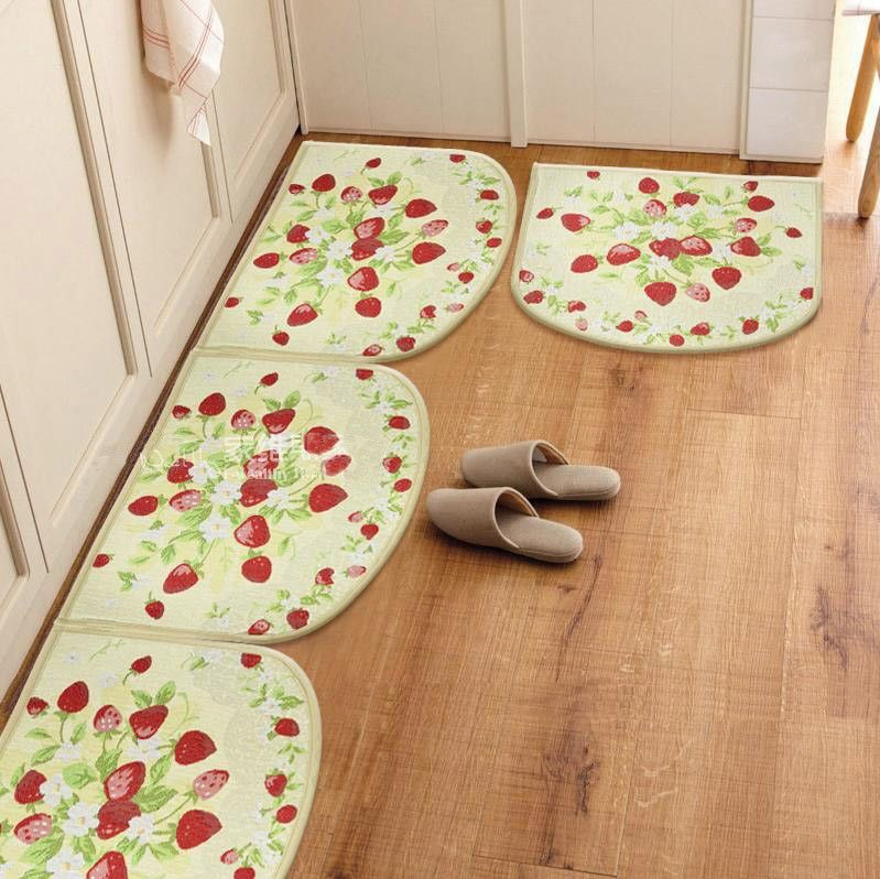 Strawberry Kitchen Rugs Semi Cirle Slip Resistant Carpet Doormat Pad