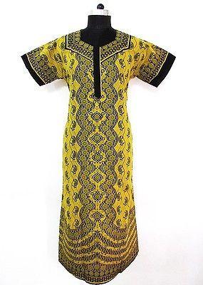 Green 100% Cotton Maxi Hand Block Printed Nightwear Women Wear Kaftan