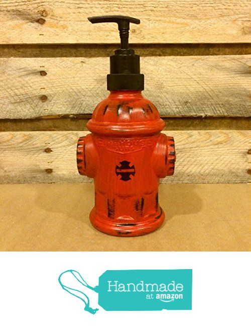Red Fire Hydrant Soap Dispenser, Hand Painted Glass Fire