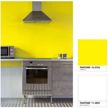 Couleur peinture cuisine jaune vif et blanc Tollens Castorama ...