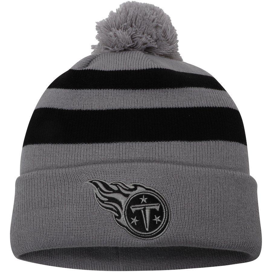 Nice Men's Tennessee Titans New Era Gray Rebound Pom Cuffed Knit Hat  hot sale