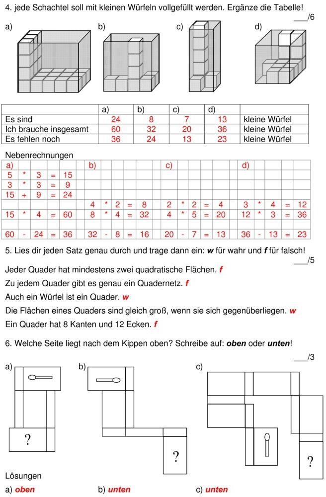 Klassenarbeit zu Würfelgebäude | Lernen | Pinterest | Kids learning ...