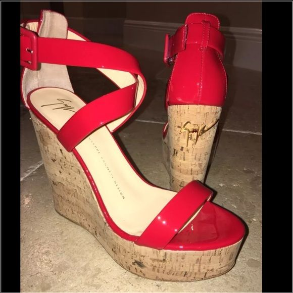 7502b9279fd8 Giuseppe Zanotti Red Patent Cork Wedges Shoes 38.5 100% Authentic Giuseppe  Zanotti design. Womens