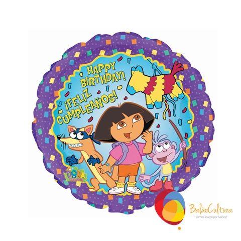 Balão Dora e sua turma Tamanho: 18 polegadas para decoração de mesa, lembrancinhas,  bouquets Contate nos: www.balaocultura.com.br