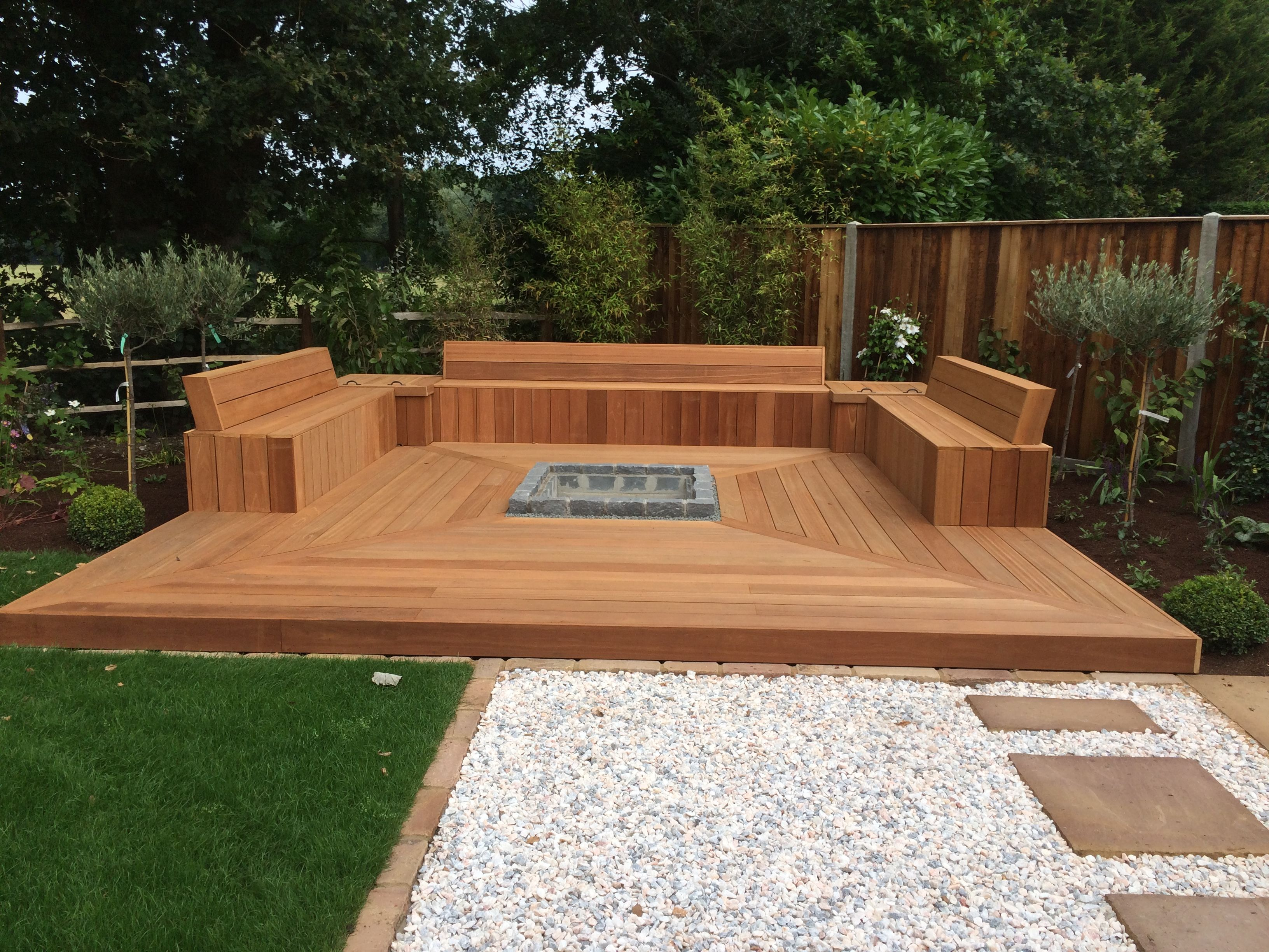 Decking Area Created Using Yellow Balau Timber With Hidden Storage Areas And Sunken Fire Pit Deck Fire Pit Sunken Fire Pits Outdoor Fire Pit
