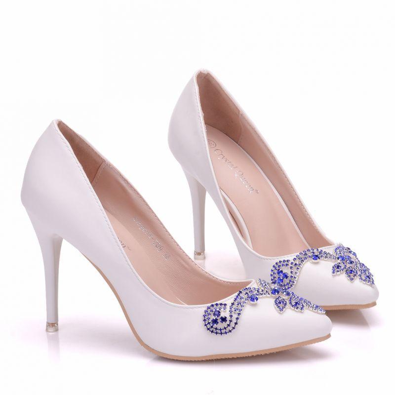 Chic Beautiful White Wedding Shoes 2018 Rhinestone 9 Cm Stiletto Heels Pointed Toe Wedding Pumps Stiletto Heels White Wedding Shoes Wedding Pumps