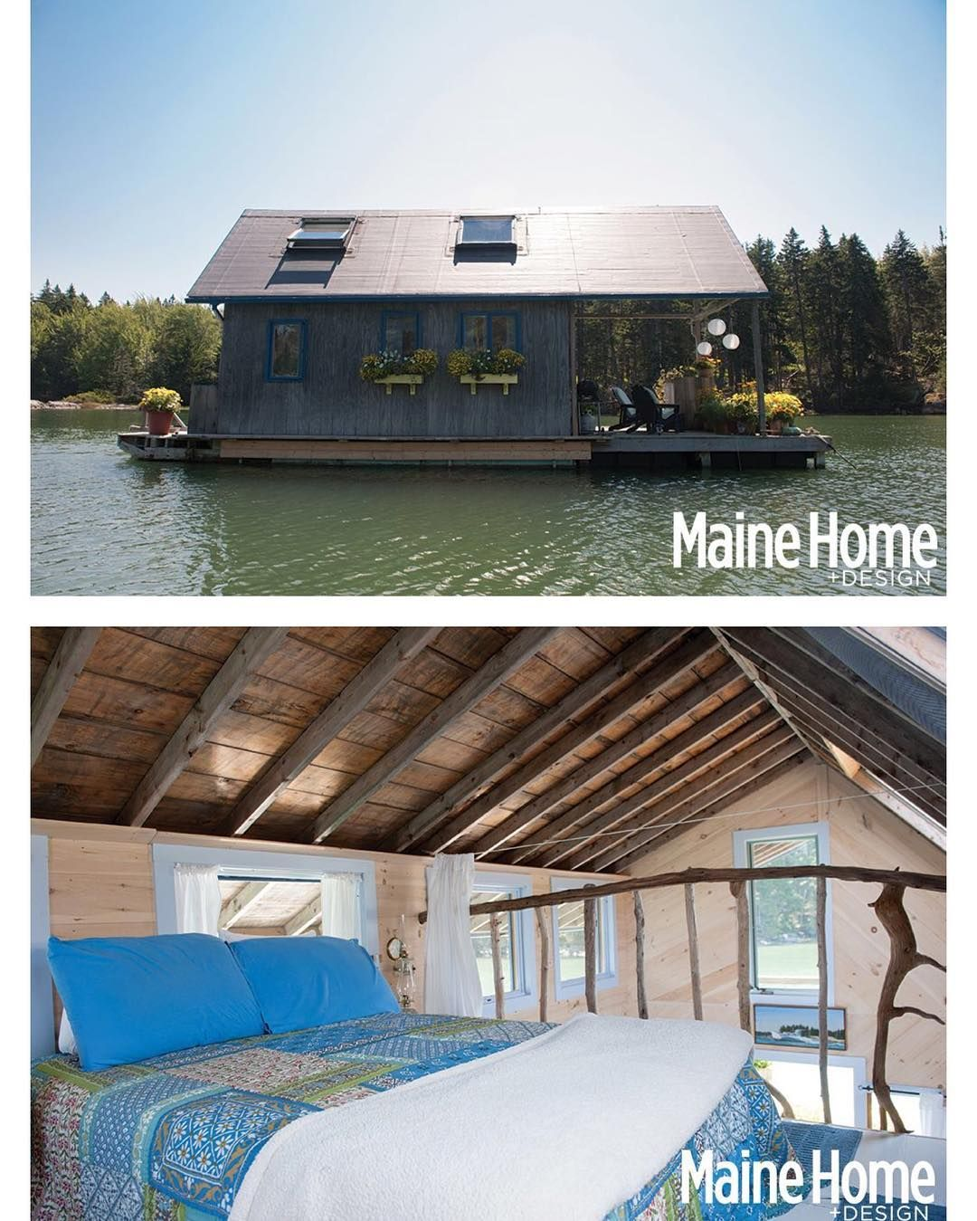Chateau Bathtub a floating cabin on #PerryCreek in #Maine owned and built by Foy and Louisa Brown   More images @tinyhousemag   Photography by Nicole Wolf via Maine HomeDesign #interiors #interiordesign #architecture #decoration #interior #home #design #camper #bookofcabins #homedecor #house #decor #prefab #diy #campervan #compactliving #fineinteriors #cabin #shed #tinyhomes #tinyhouse #cabinfever #foodtruck #tinyhousemovement #airstream #treehouse #cabinlife #cottage