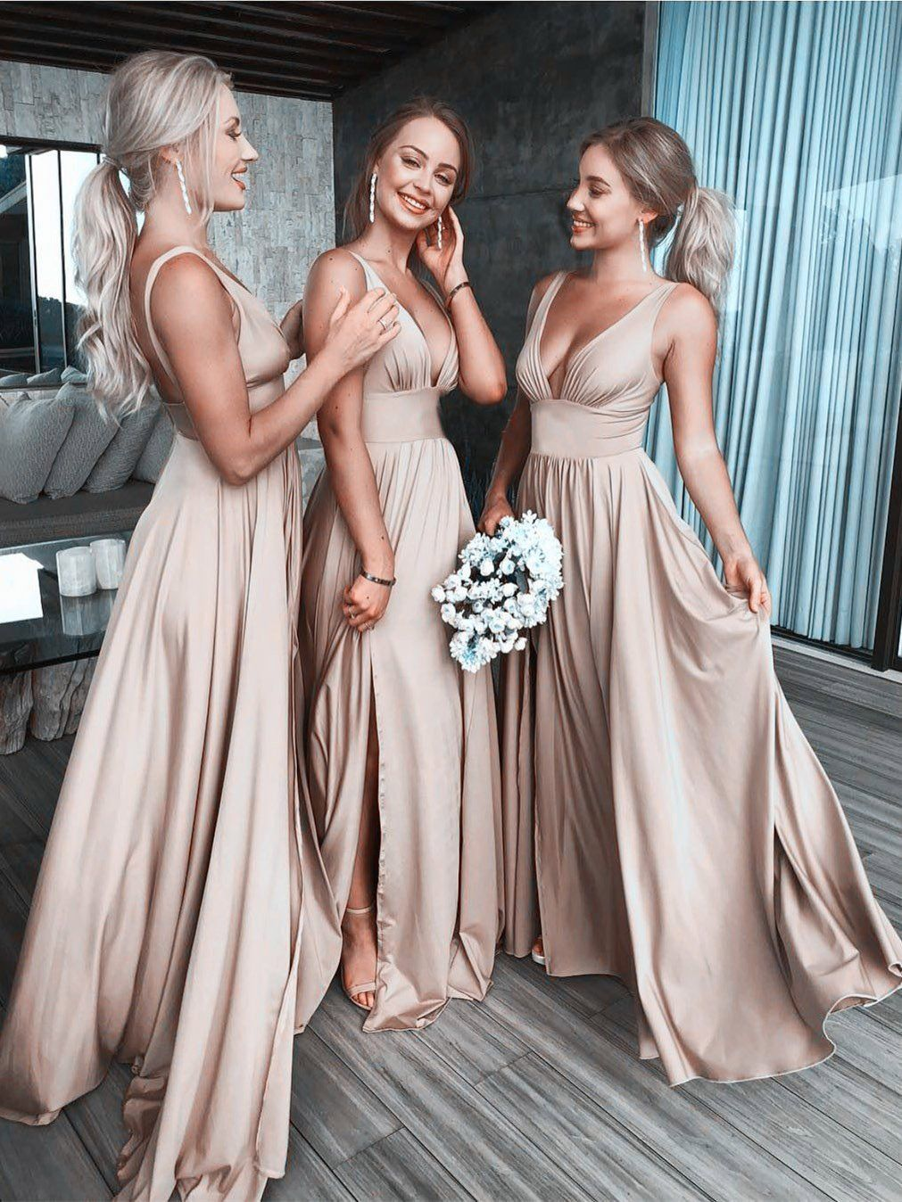 Sexy gold bridesmaid dresses v neck wedding guest dresses with slit