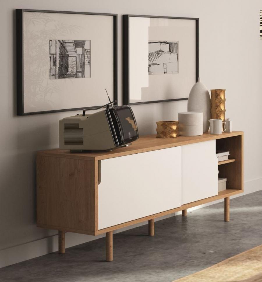 Temahome Dann, Modern Compact TV Cabinet in White/ Oak Finish ...