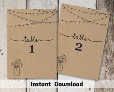 Wedding Table Number Printable  Table Card von InstantInvitation