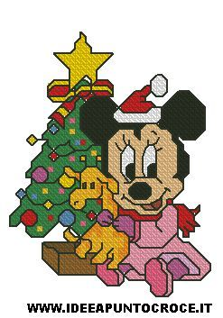 Immagini Natale Disney Baby.Baby Minnie Natale Punto Croce Disney Babies Cross
