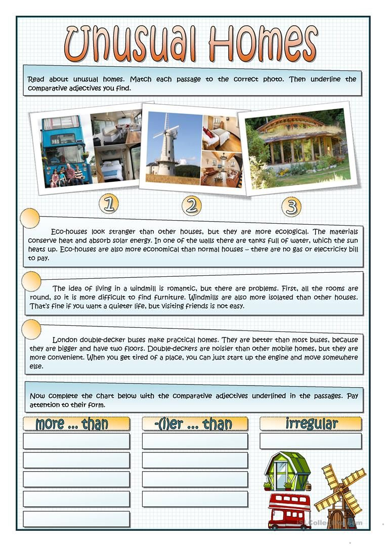 UNUSUAL HOMES - COMPARATIVE worksheet - Free ESL printable worksheets made  by teachers   Unusual homes [ 1079 x 763 Pixel ]