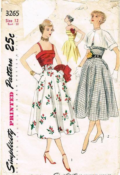 1950s Vintage Simplicity Sewing Pattern 3265 Uncut Misses Sun Dress & Bolero 30B