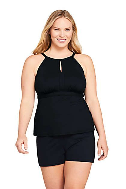 Women's Plus Size Keyhole High Neck Modest Tankini Top Swimsuit Adjustable Straps 4