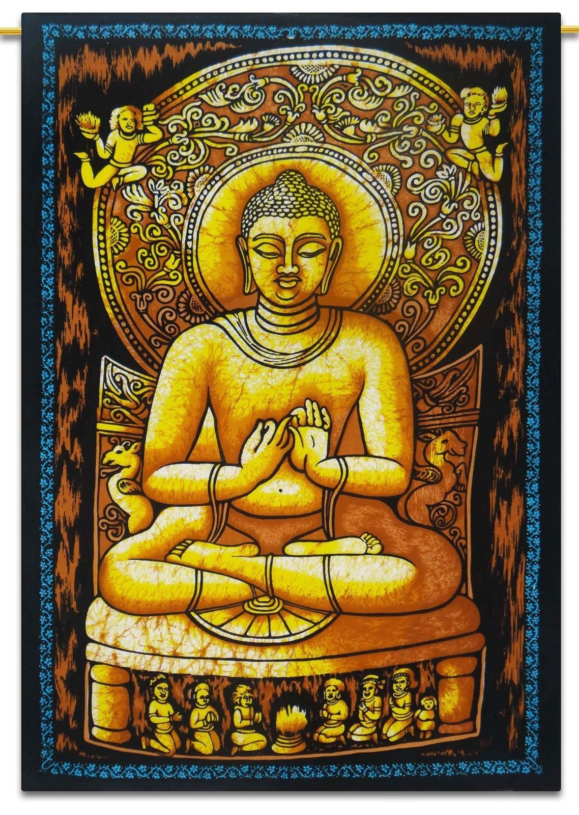 Lord Buddha Wall Hanging Indian Cotton Tapestry Poster Size Black ...