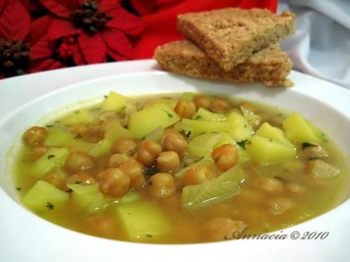 Garbanzo Bean Soup - Add 1 head of cabbage, sliced beef sausage, cubed ham chunks.