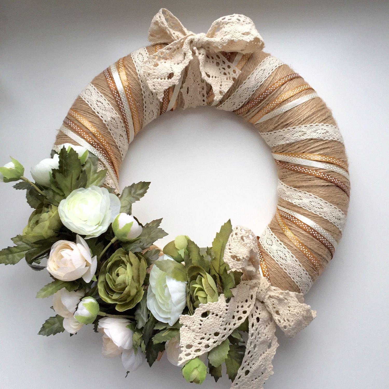 Купить Венок на дверь с цветами и кружевом - венок на ...