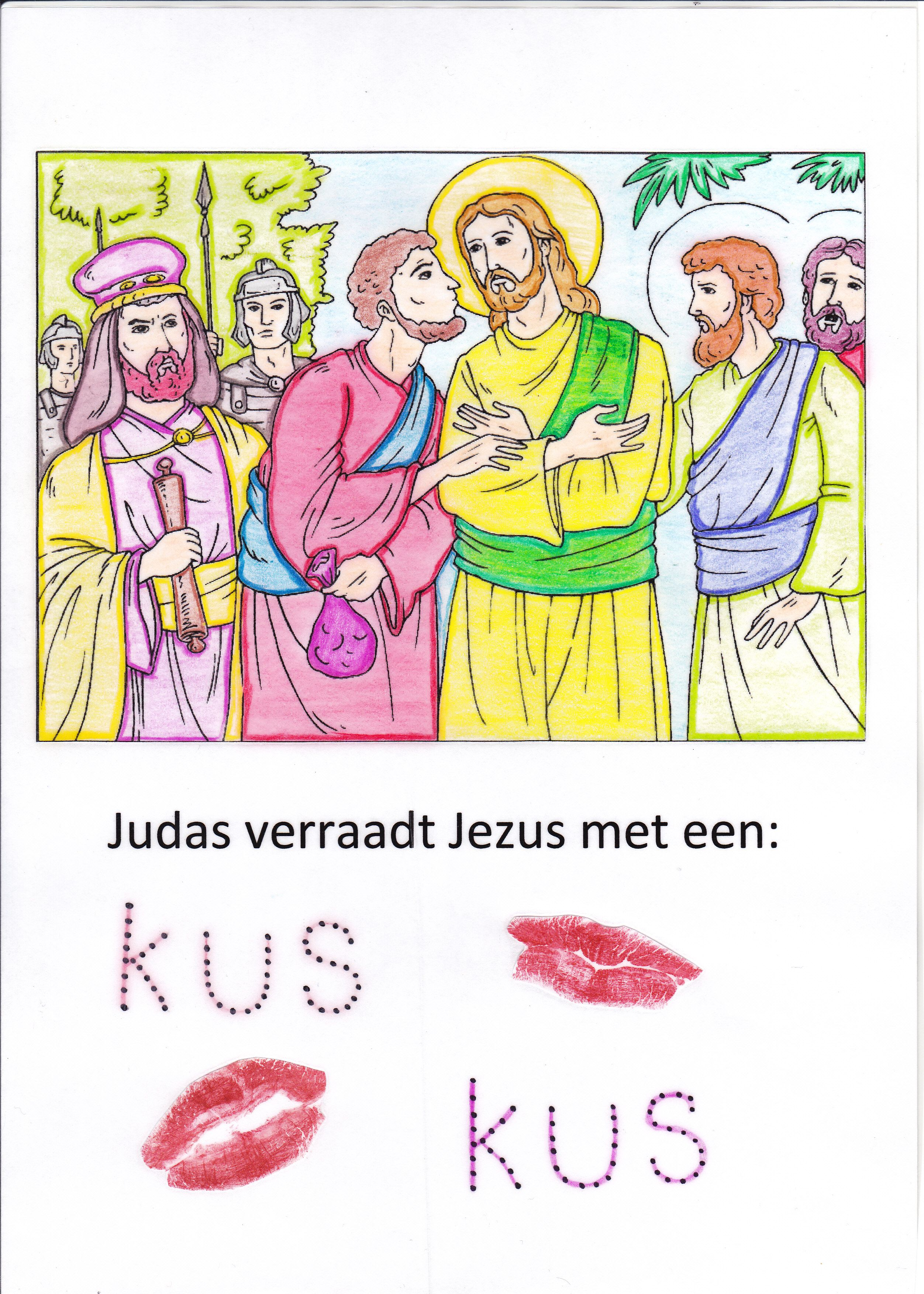 Judas Verraadt Jezus Met Een Kus Je Kan Van De Kleurplaat Een