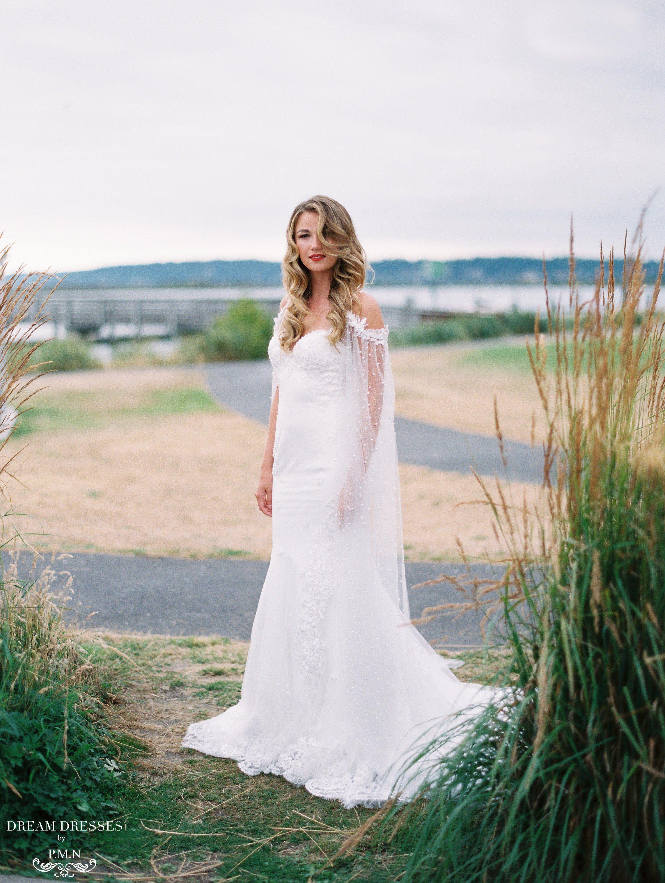 Lace mermaid wedding dress with sleeve cape aceline lace