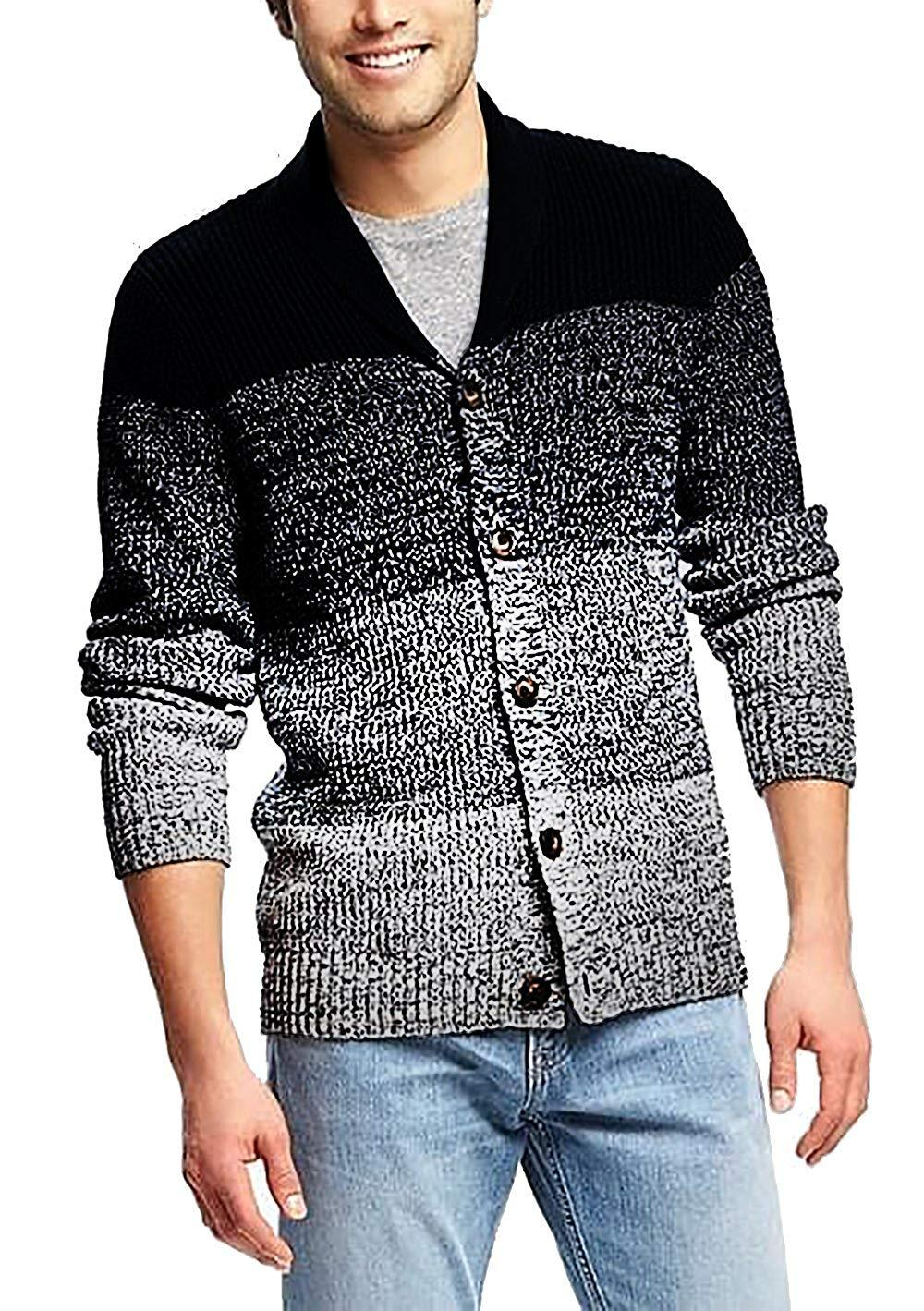 Mens Shawl Cardigan Casual Button Down Slim Fit Long Sleeve Rib Lightweight Knitted Sweater