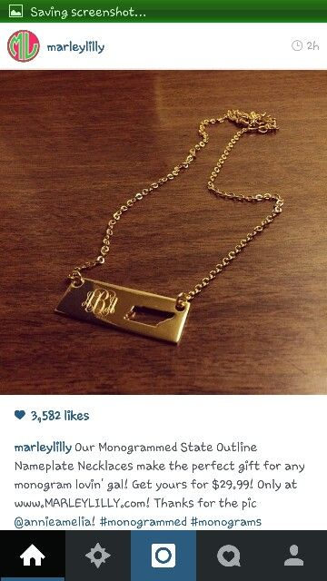 State monogram necklace
