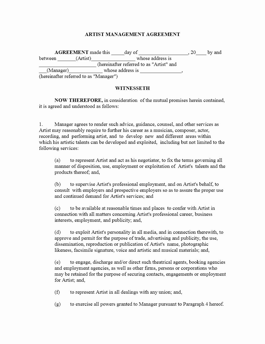 Artist Management Contract Template in 2020 Contract