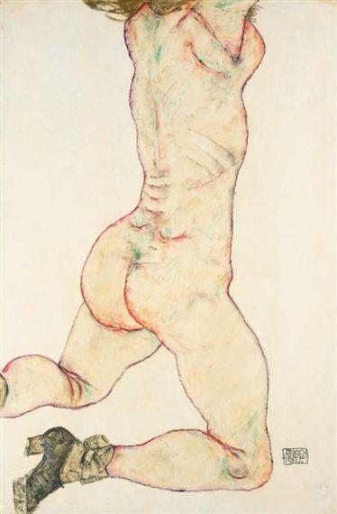 Egon Schiele, KNIENDER WEIBLICHER AKT, RÜCKANSICHT (KNEELING FEMALE NUDE, BACK VIEW)