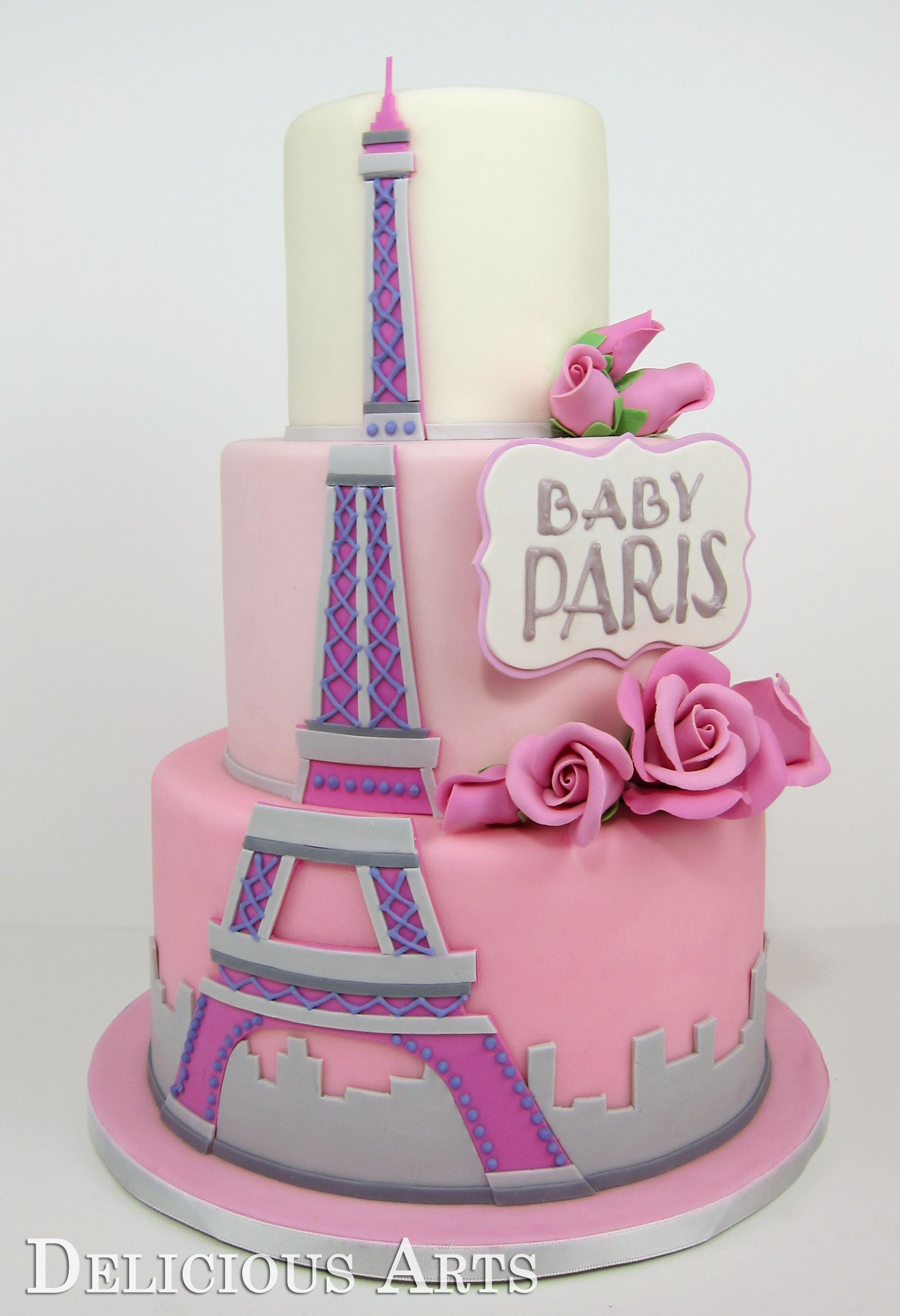 delicious arts Paris Themed Baby Shower Cake