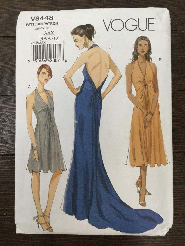 Vogue 8448 Halter Dress or Gown Uncut Pattern