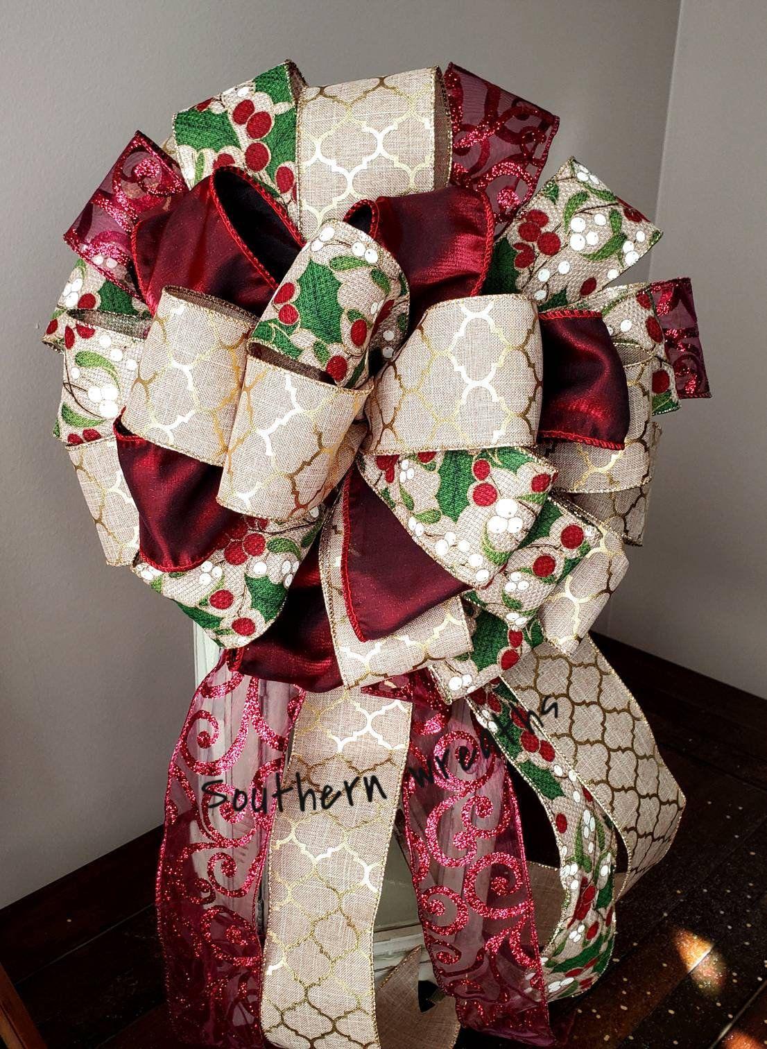 Christmas Tree Topper Bow, Farmhouse Holiday Bow, Burgundy