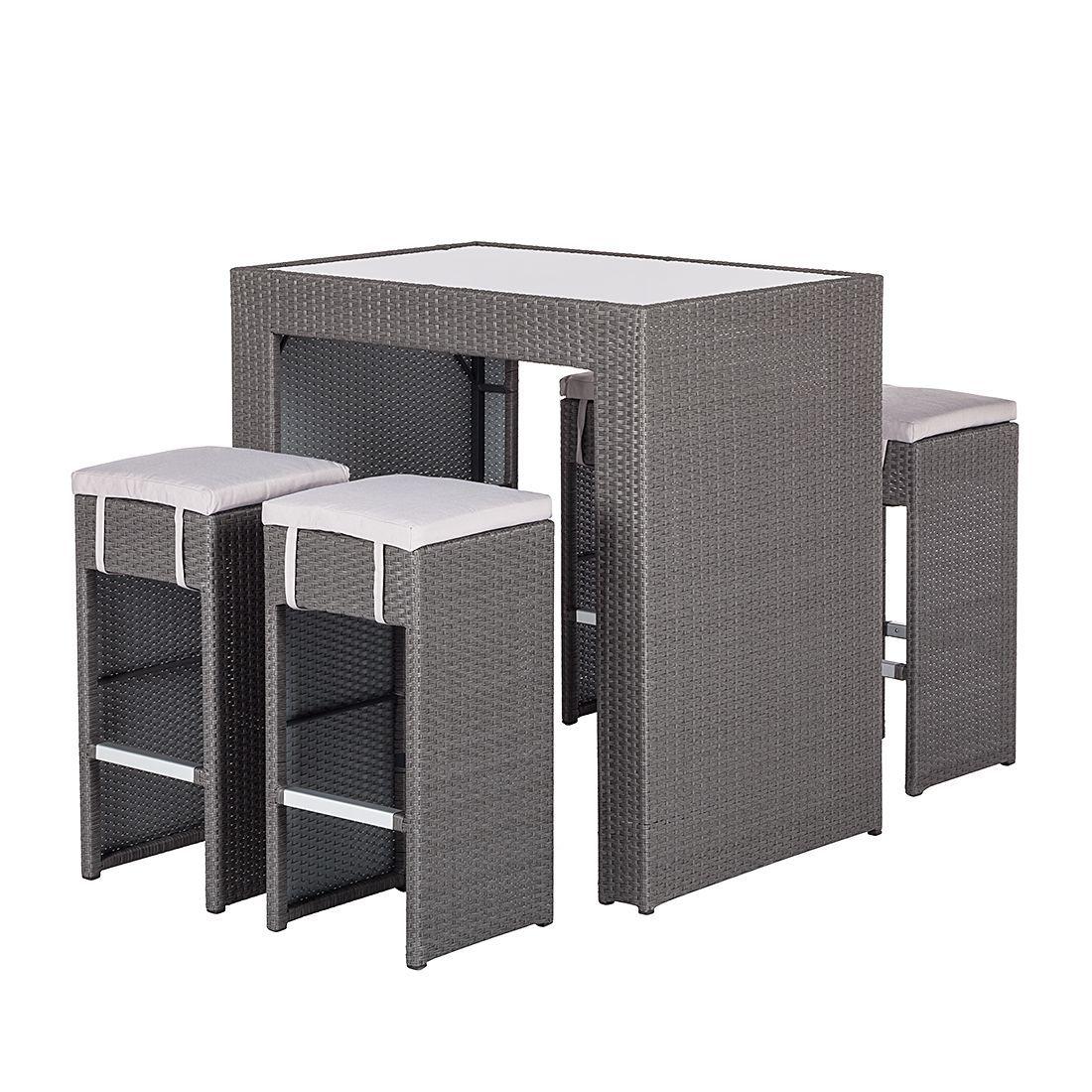 Gartenbar Set Paradise Lounge (5 teilig)   Polyrattan Grau