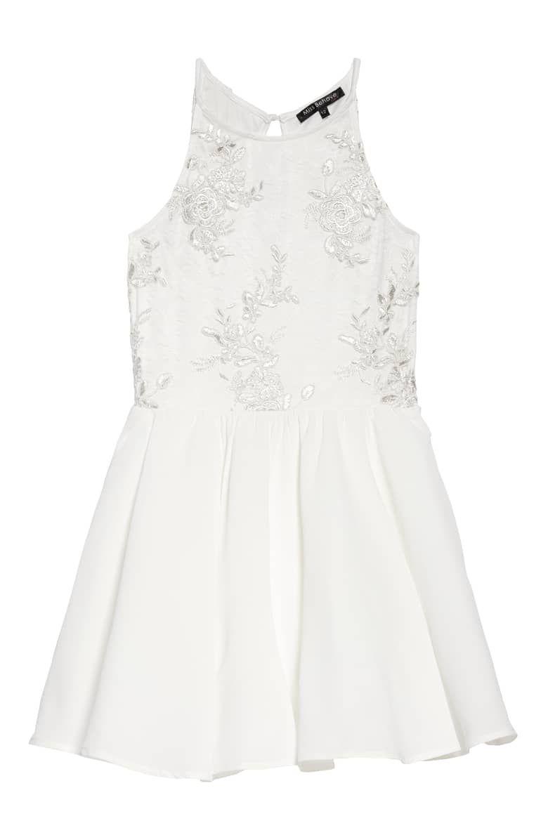 951d50ea61d Girls Sleeveless Flip Sequin Ruffle Mesh Woven Dress